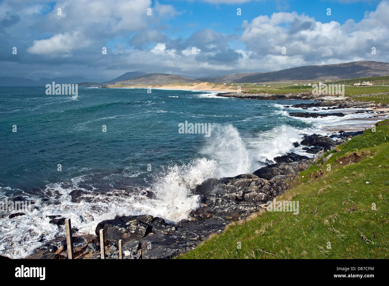 Sandy beaches and waves breaking on the west coast of South Harris near Sgarasta Mhor on the Outer Hebrides Scotland - Stock Image