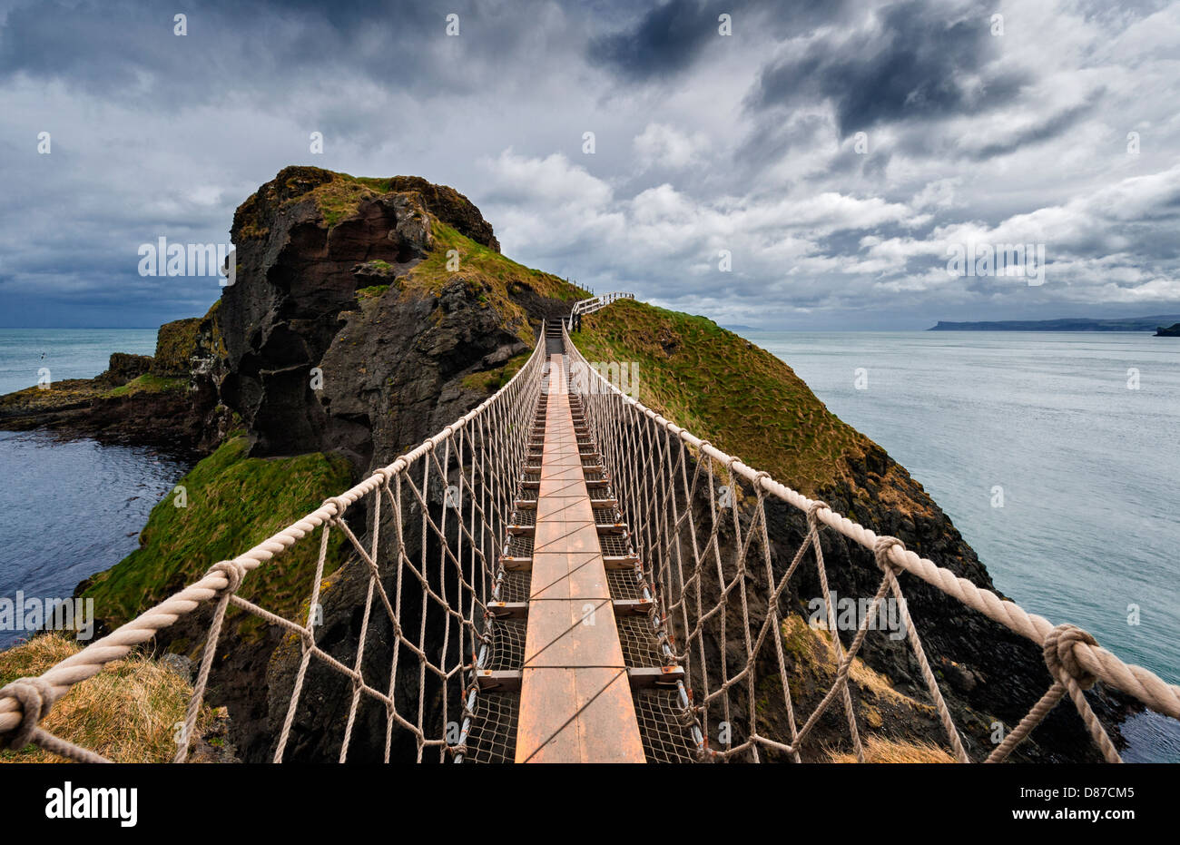 Carrick-a-Rede rope bridge. - Stock Image