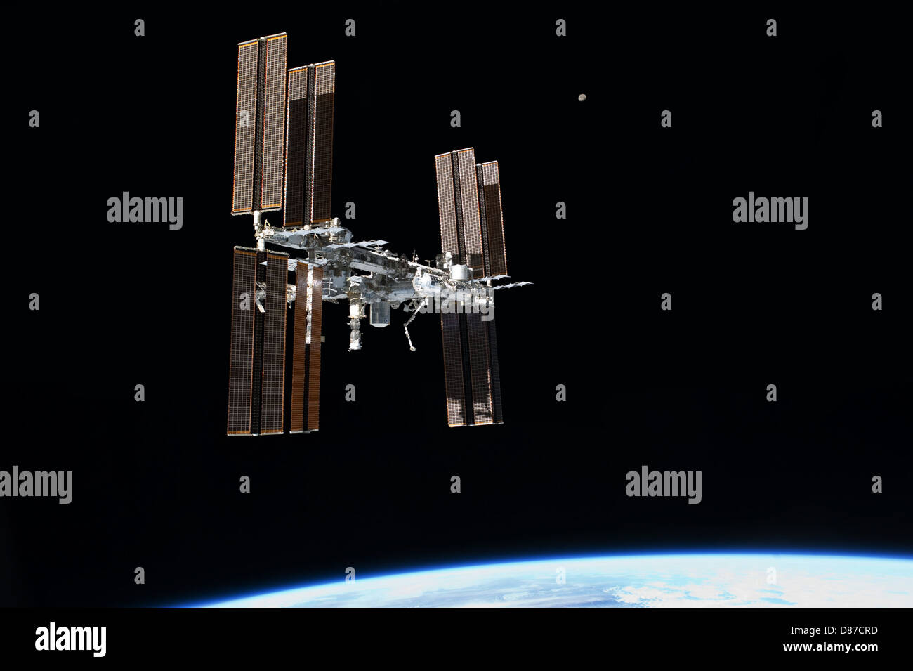 STS-135 final flyaround of ISS 1.jpg - Stock Image