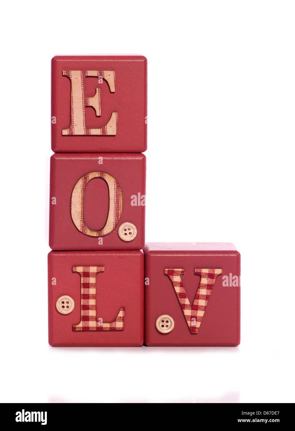 muddled love wooden blocks cutout - Stock Image
