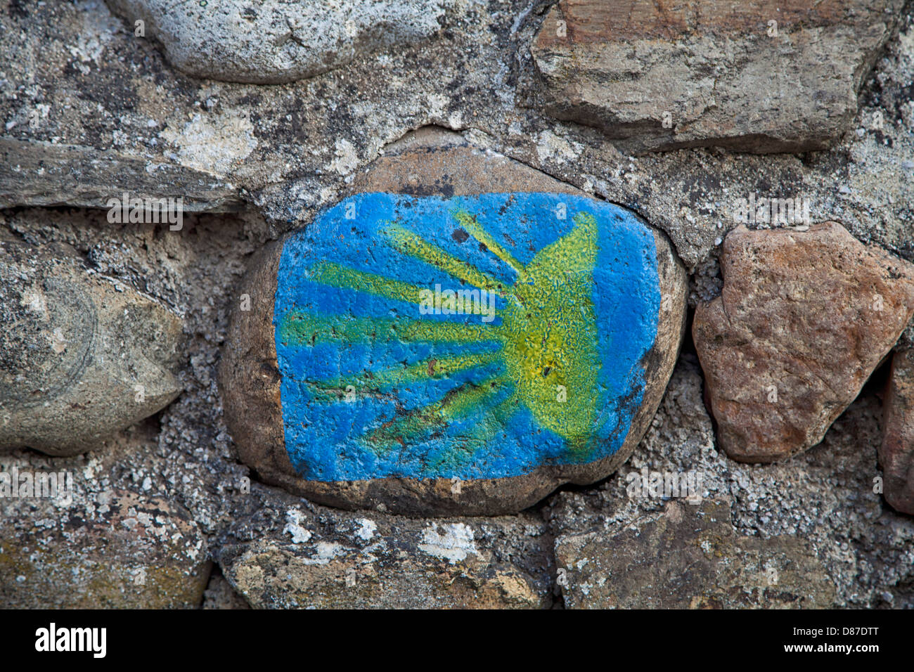 stylized scallop shell, route marker along the Camino to Santiago de Compostella, Spain - Stock Image