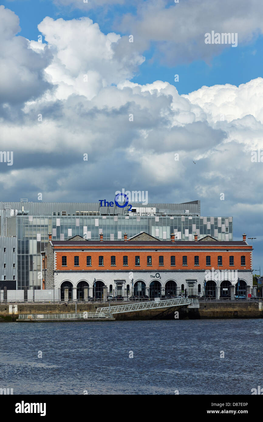 The O2 building at North Wall Quay in Dublin's docklands. The O2 building is built on the site of the former - Stock Image