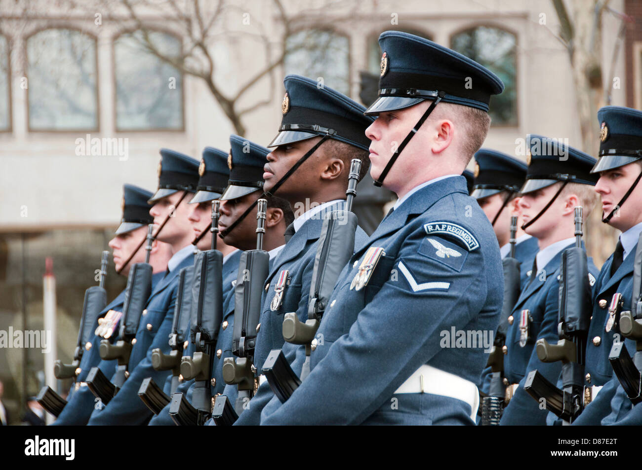 RAF soldiers marching through central London at Margaret Thatchers funeral - Stock Image
