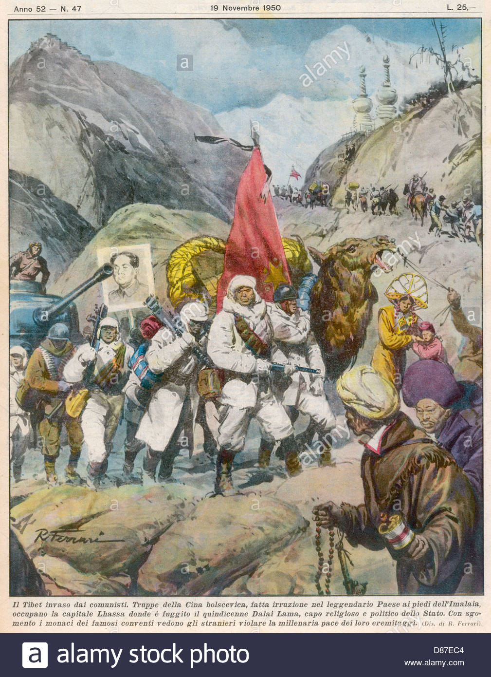 China Invades Tibet 1950 - Stock Image