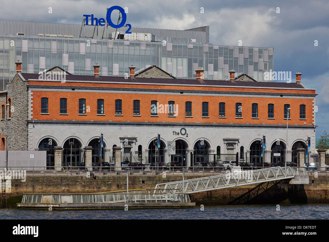 The O2 building at North Wall Quay in Dublin's docklands. The O2 building is built on the site of the former Point Stock Photo