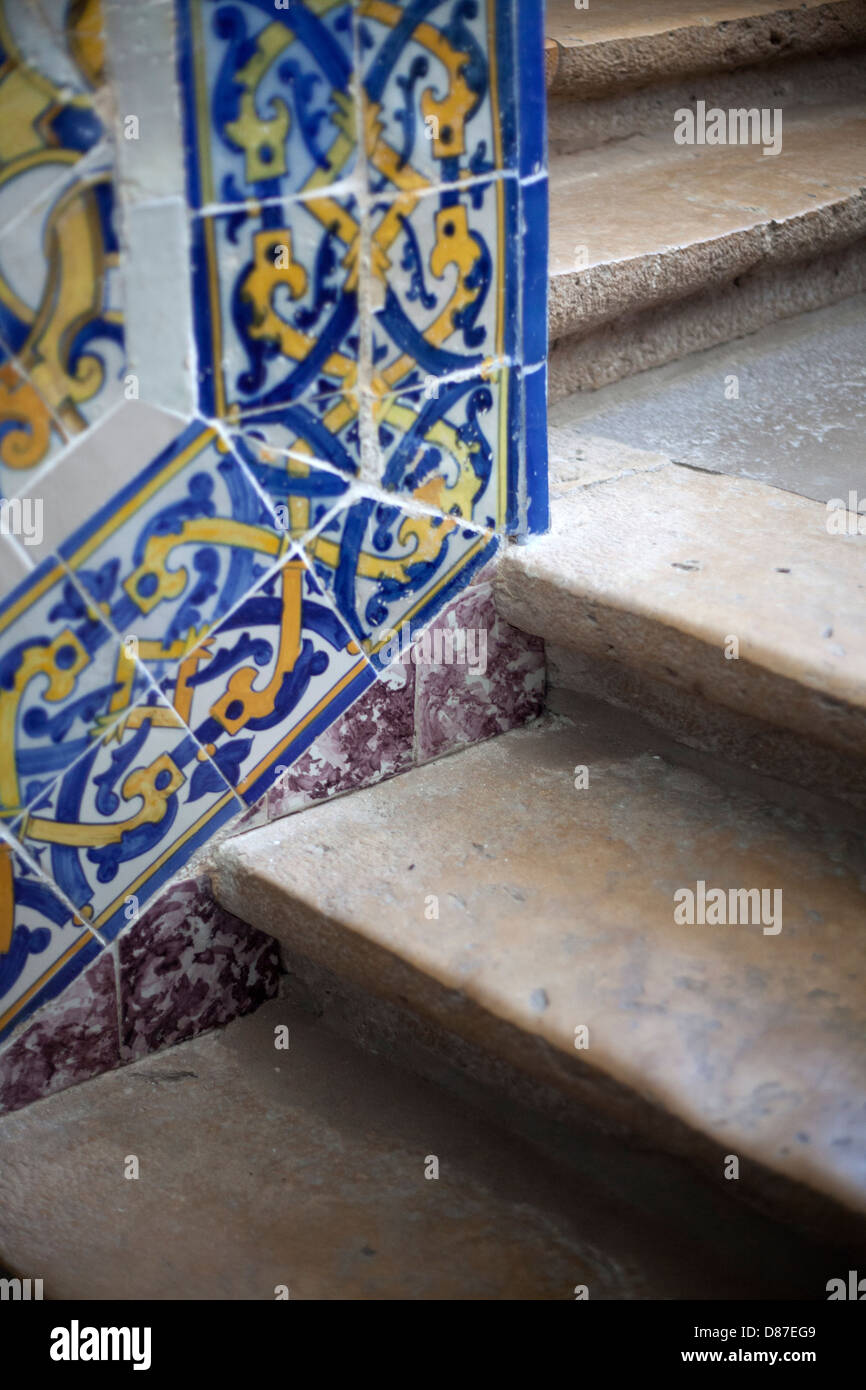 Traditional wall tiles in the cathedral of Faro, Portugal - Stock Image