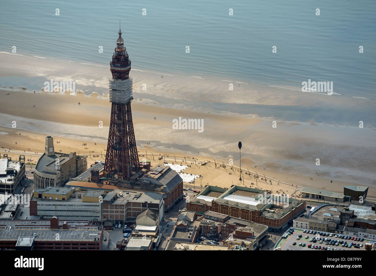 Aerial photograph of Blackpool Tower and Beach - Stock Image