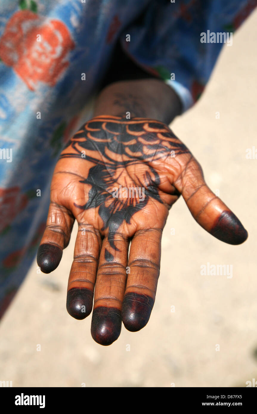Palm Of A Sudanese Woman Decorated With Henna Stock Photo 56714509