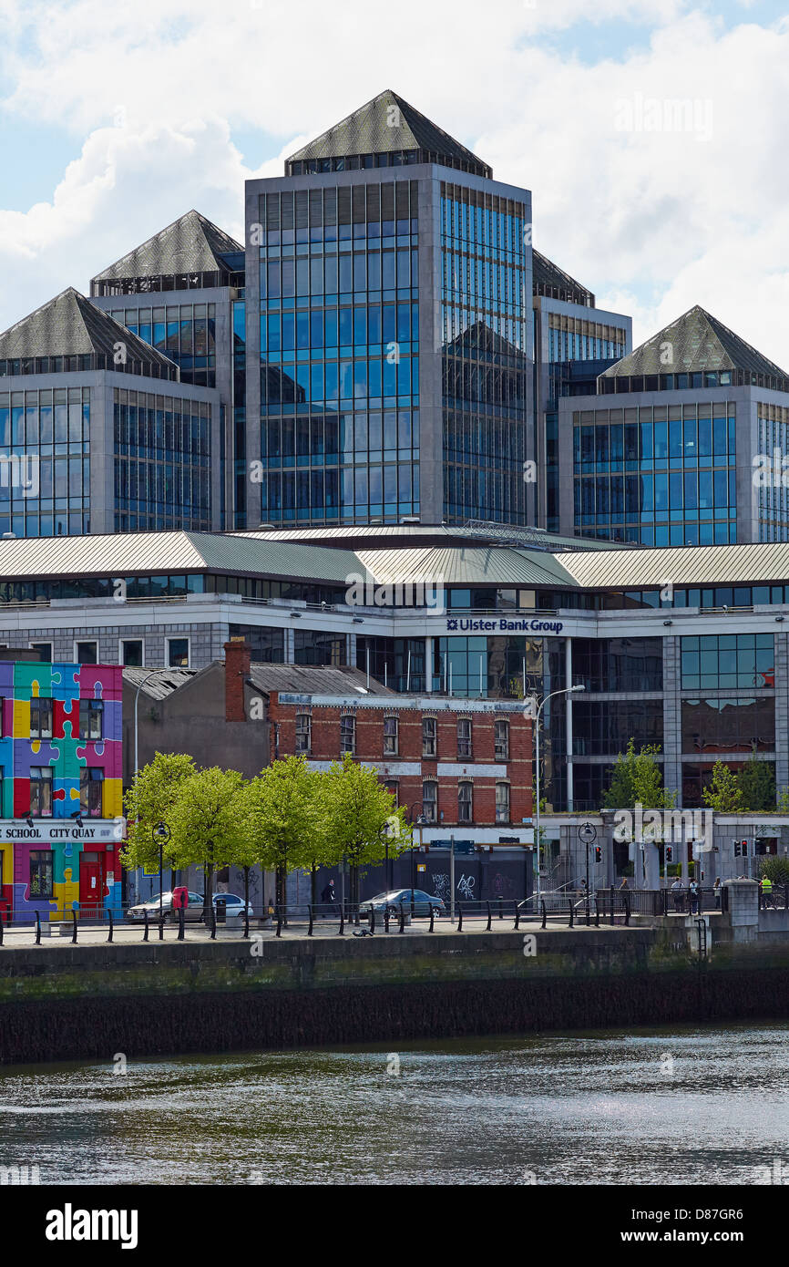 Dublin city skyline showing the Ulster bank group headquarters on Georges quay, Dublin, Ireland - Stock Image