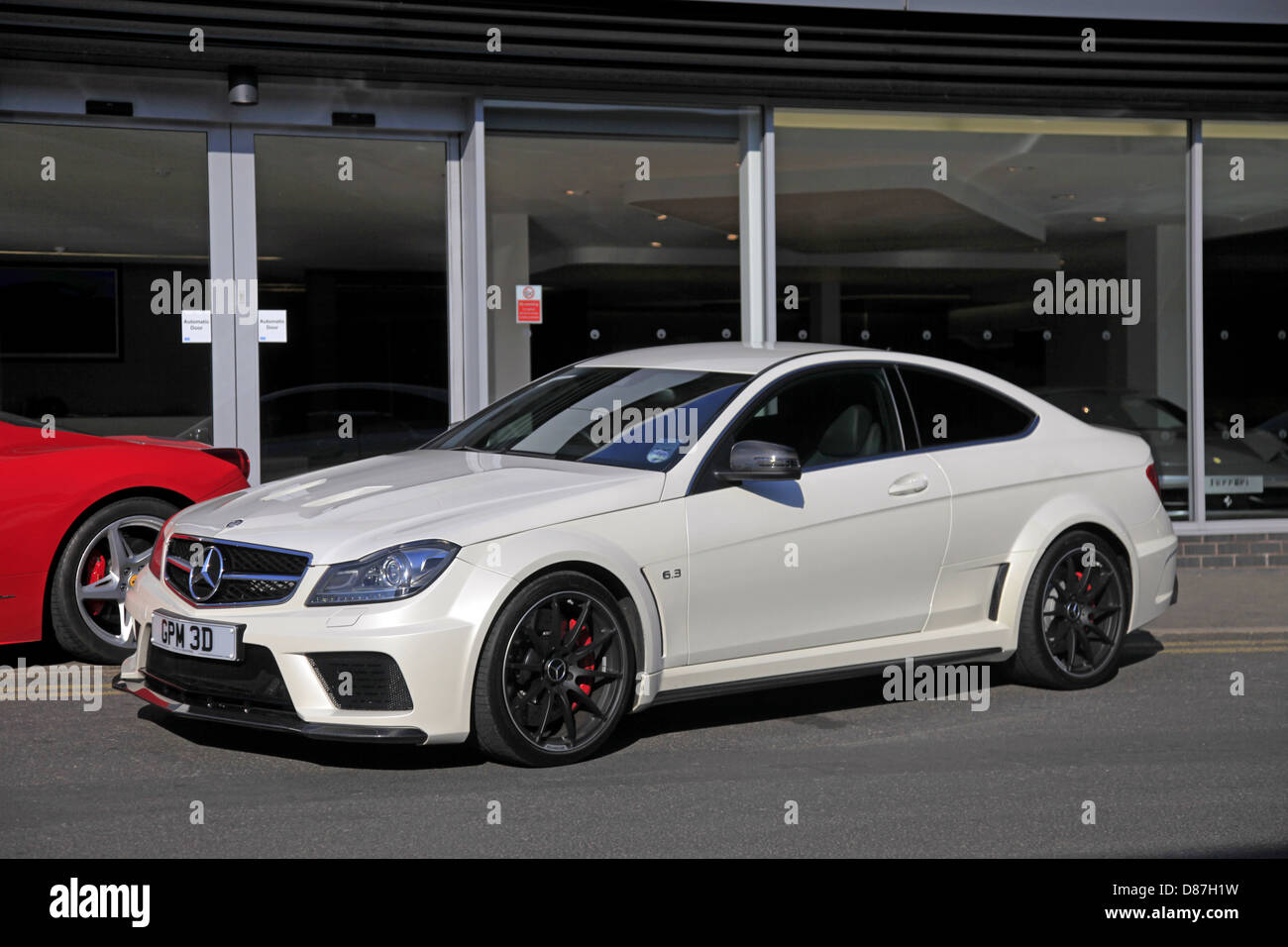 white mercedes c63 amg black car wilmslow manchester england 05 april stock photo 56715397 alamy. Black Bedroom Furniture Sets. Home Design Ideas