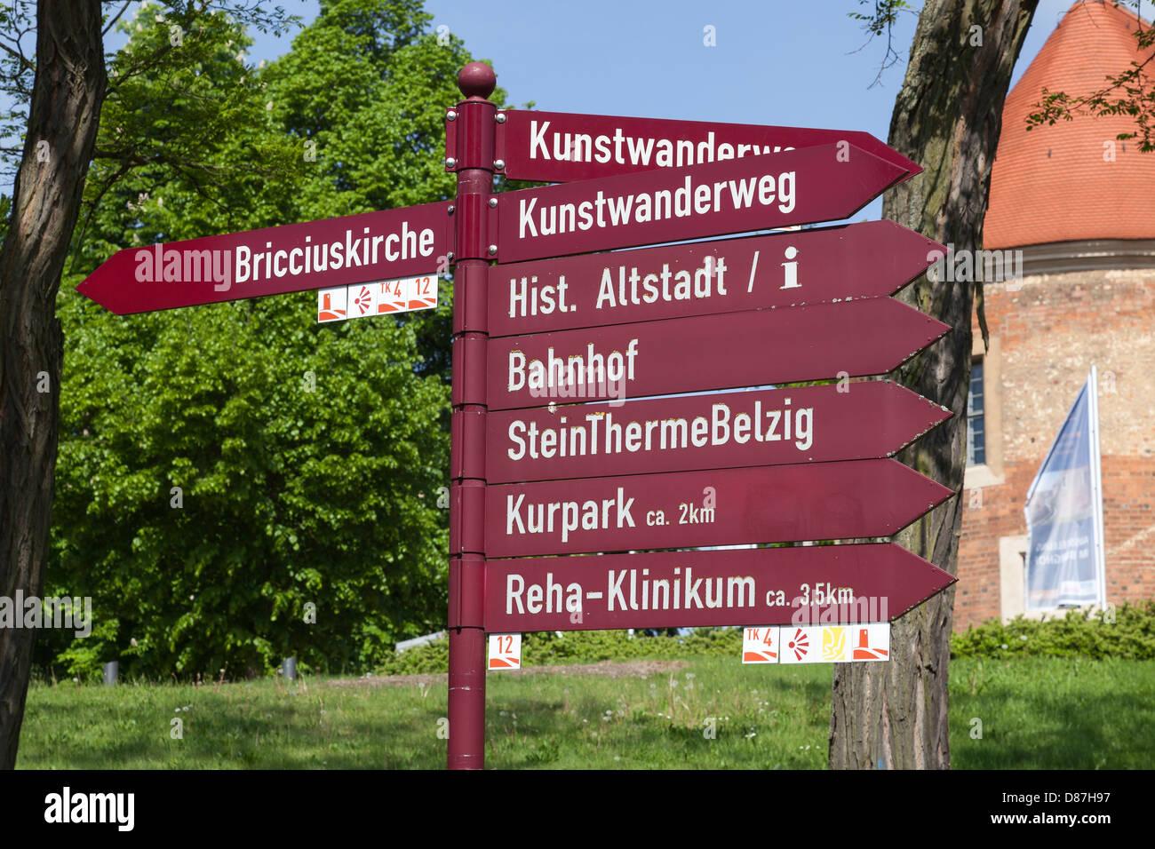 Tourism signpost, Bad Belzig, Hoher Fläming, Brandenburg, Germany - Stock Image