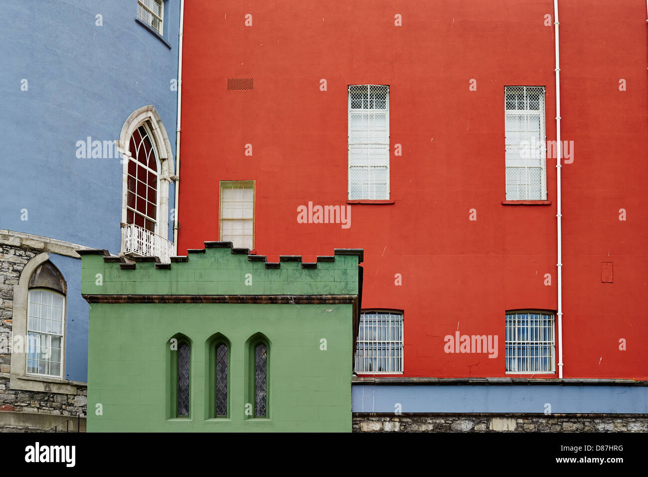 Close-up of the brightly coloured section of Dublin Castle - Stock Image