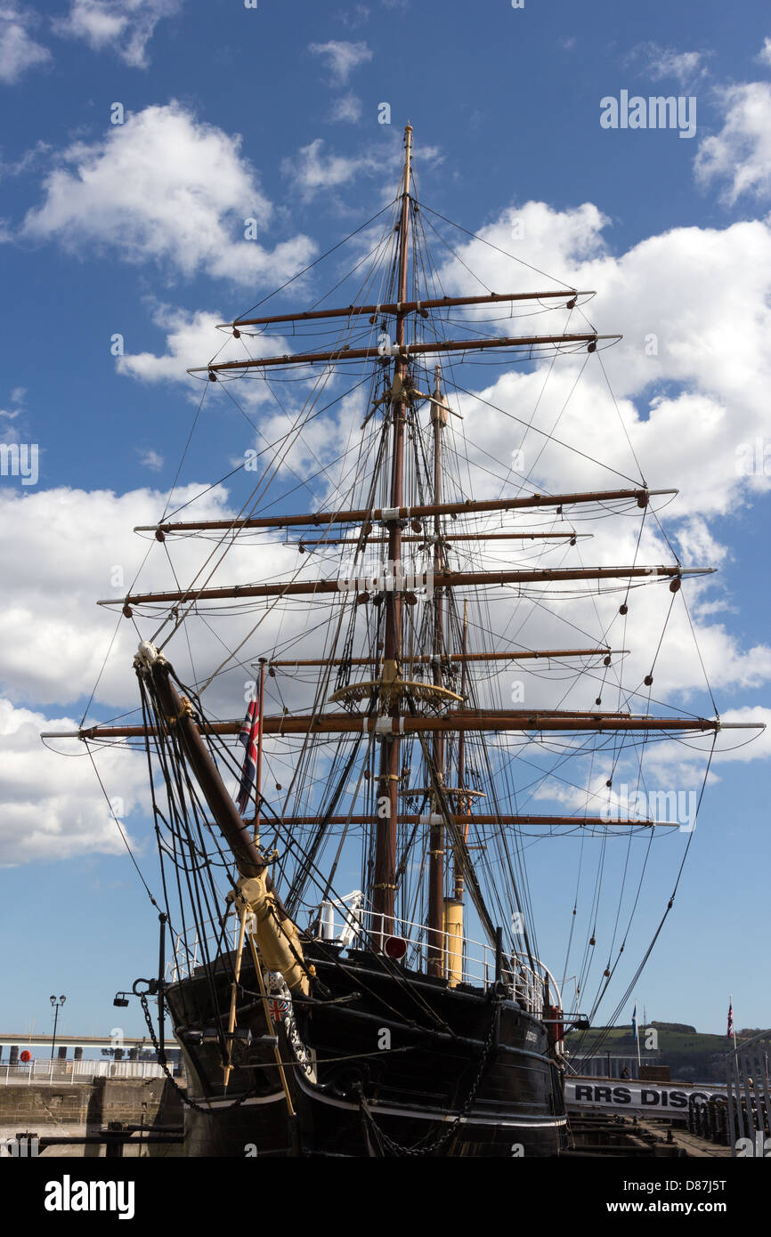 RRS Discovery at 'Discovery Point' Dundee Scotland.Polar exploration ship - Stock Image