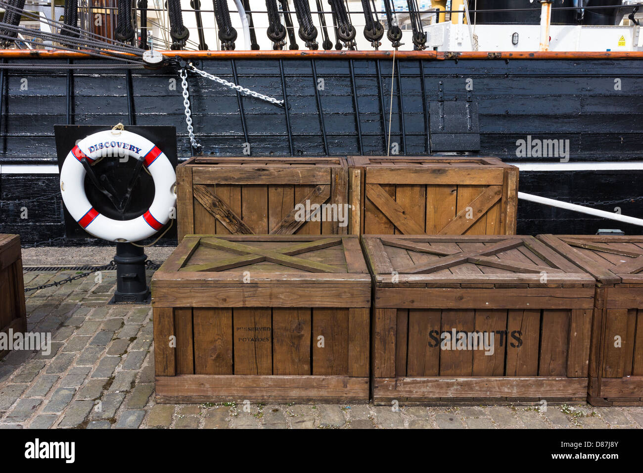 Stores,supplies ready for loading, quayside at RSS Discovery. Discovery point Dundee - Stock Image
