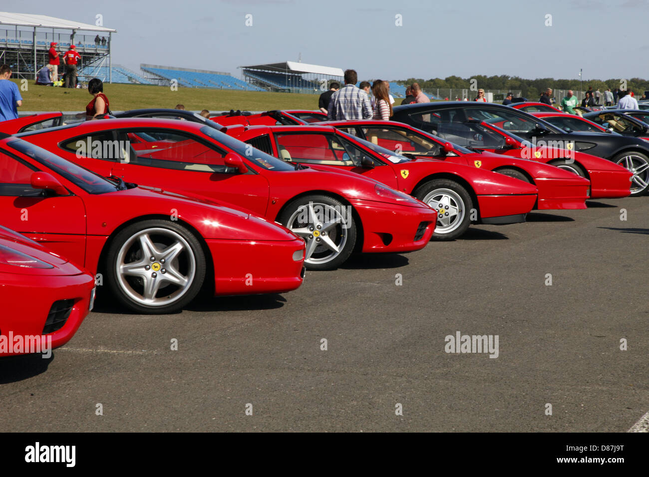 LINE OF RED FERRARI CARS SILVERSTONE ENGLAND 17 September 2012 - Stock Image