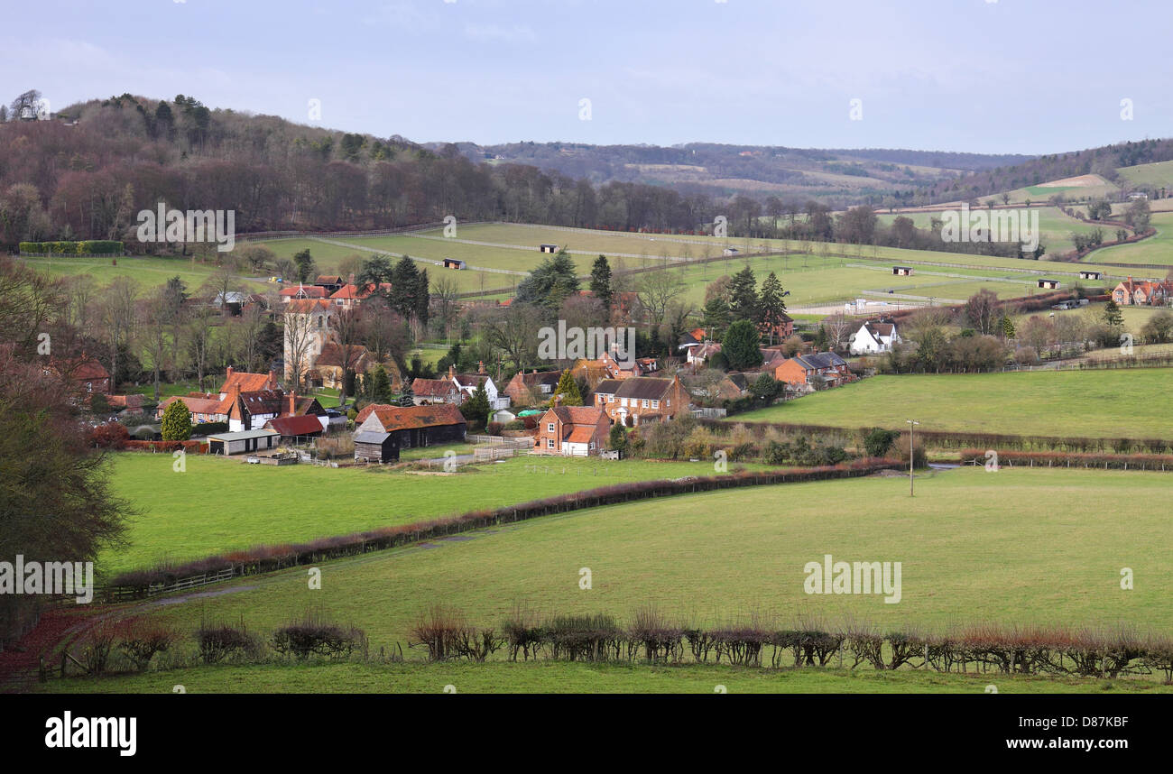 An English Landscape in the Chiltern Hills in Oxfordshire with Hamlet in the Valley - Stock Image