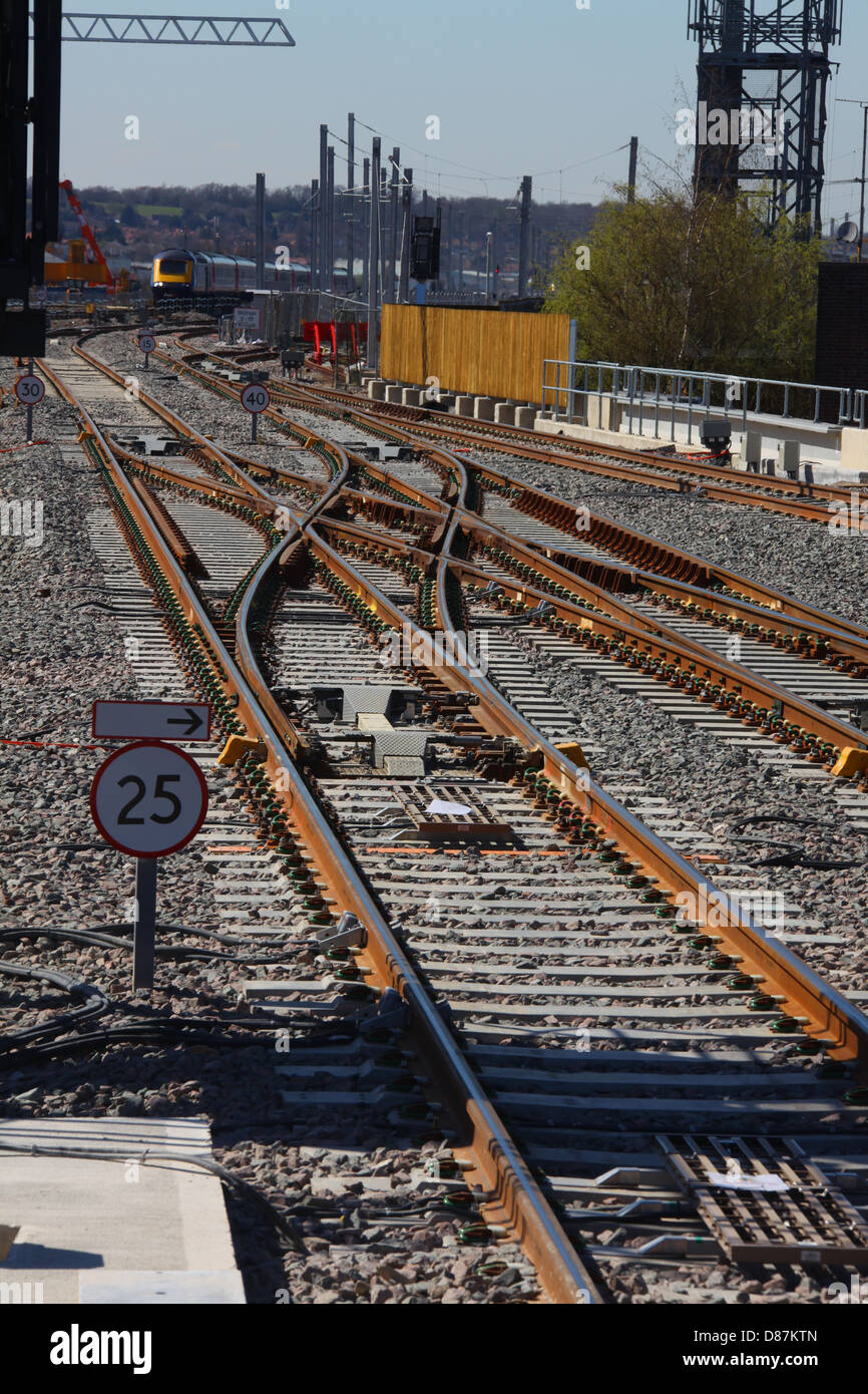 A new set of crossover points just outside the new station permitting trains in both up and down directions to cross - Stock Image