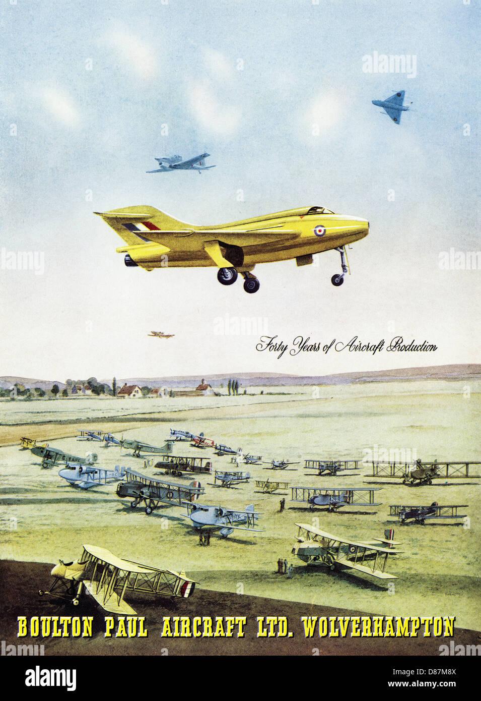 Advert for aircraft manufacturer BOULTON PAUL AIRCRAFT LTD WOLVERHAMPTON advertisement in trade magazine circa 1955 Stock Photo