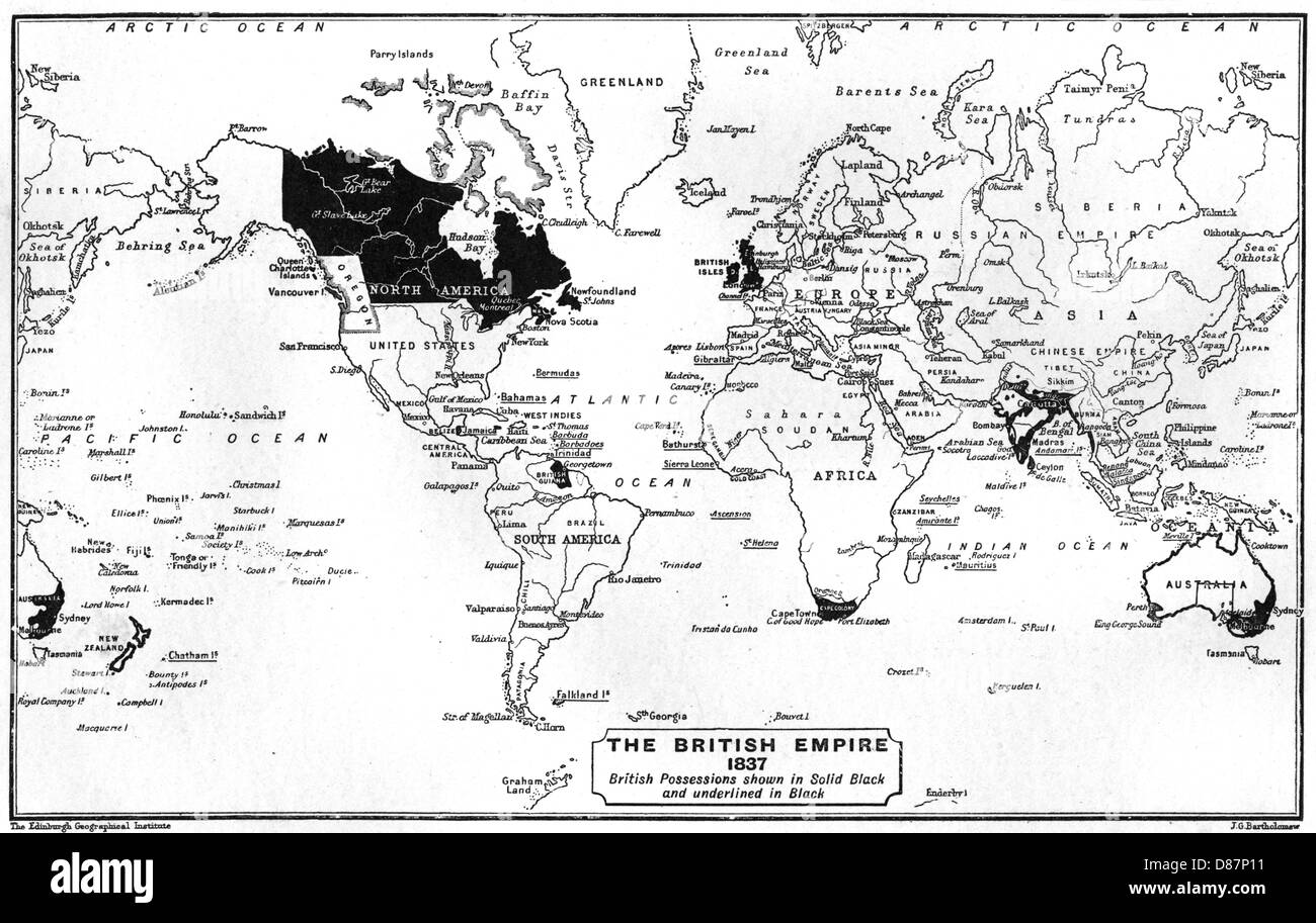 World Map 1837 - Stock Image