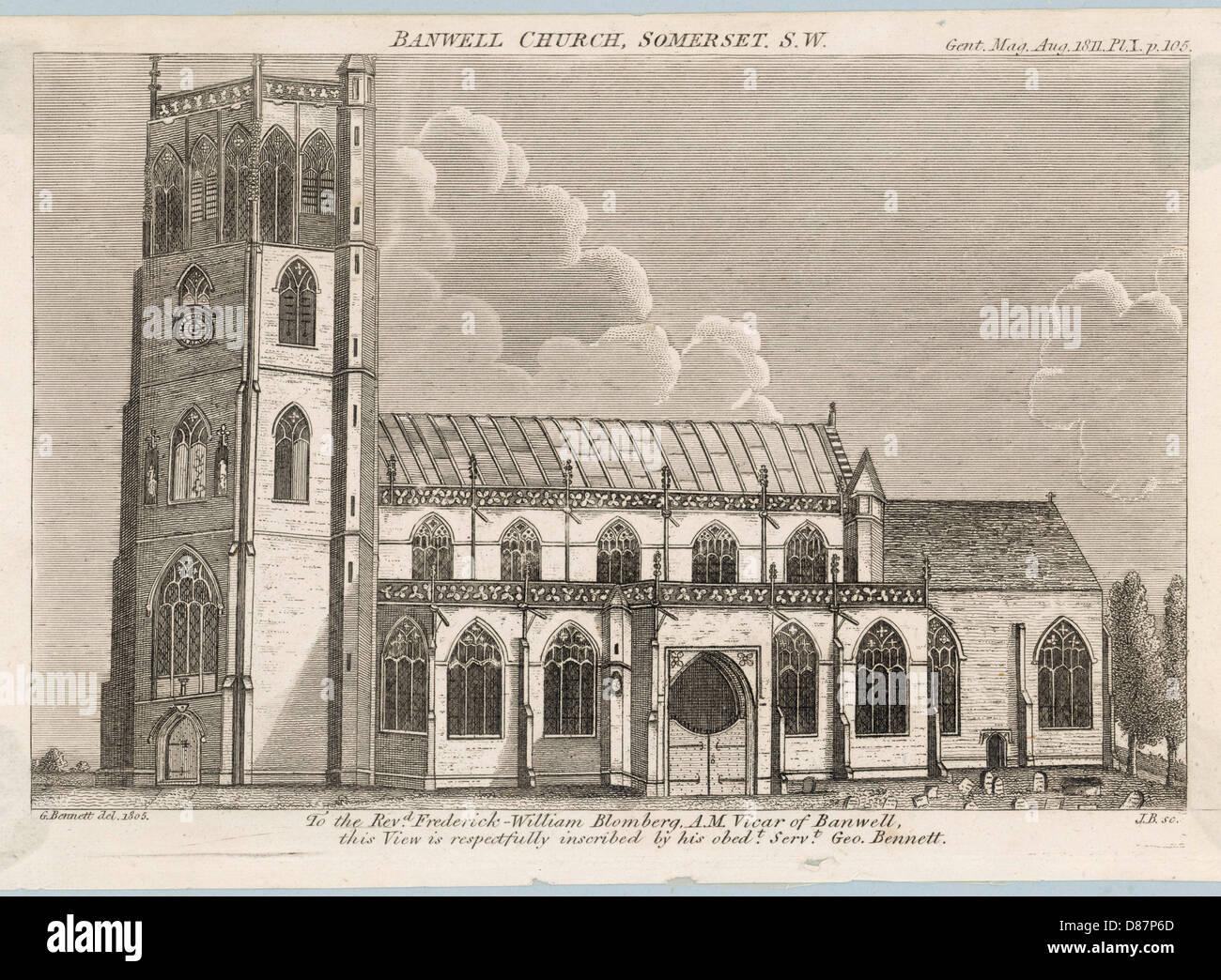 Churches Banwell 1811 - Stock Image