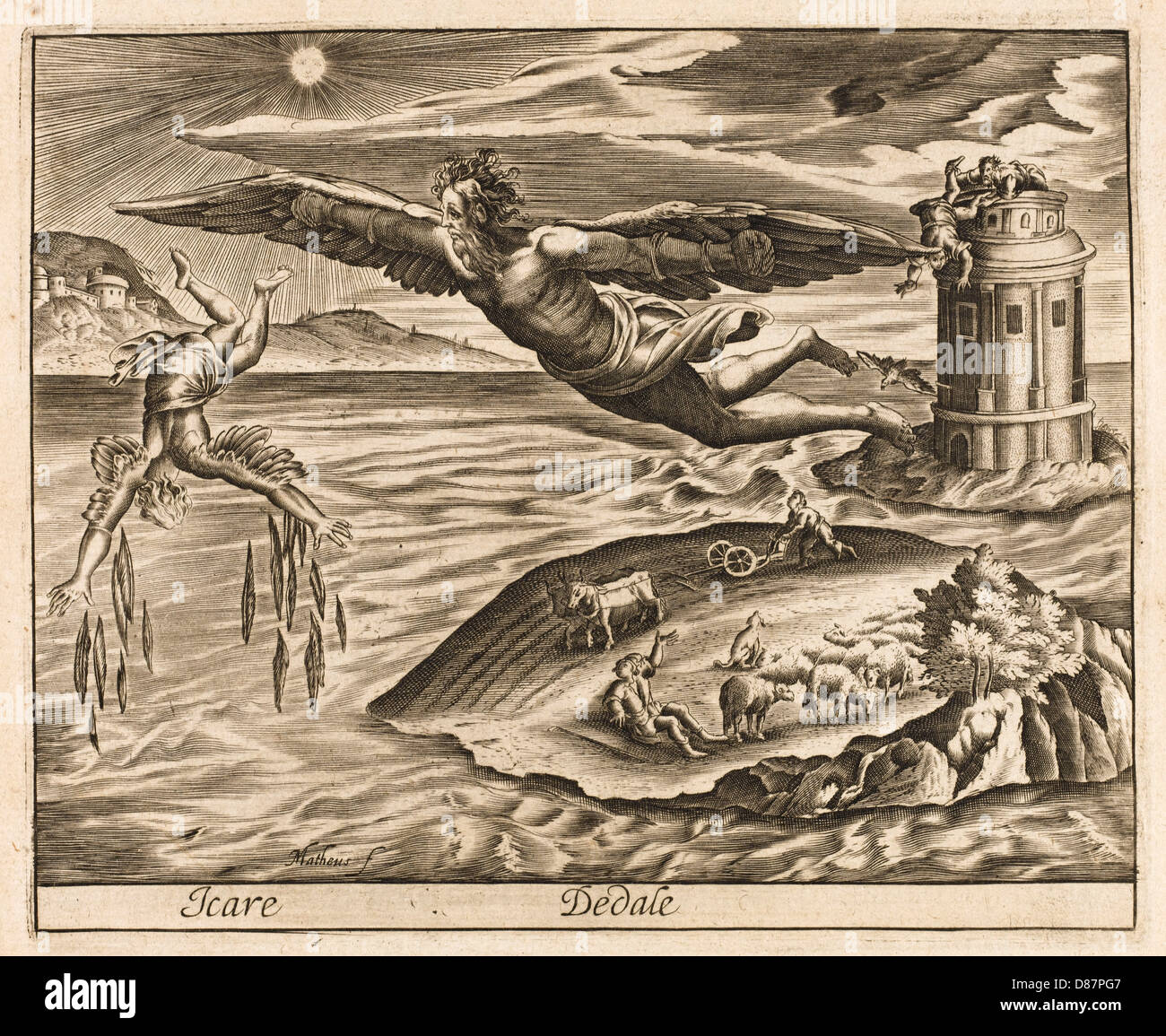 Icarus And Daedalus - Stock Image