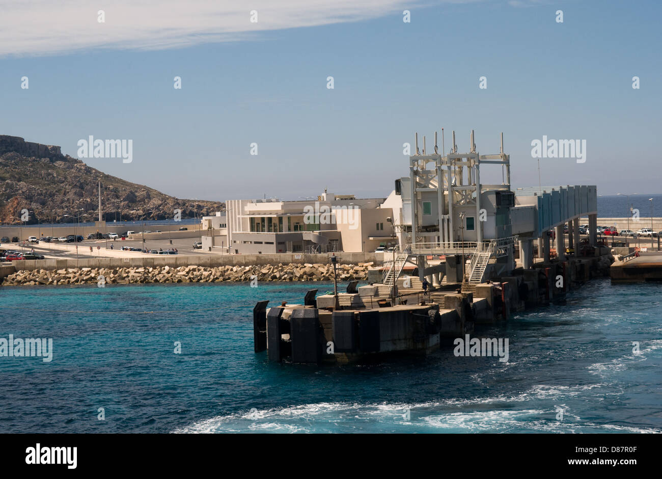 The new ferry terminal at Cirkewwa, Malta  for the ferries to Gozo. Passengers now board through side ramps rather - Stock Image