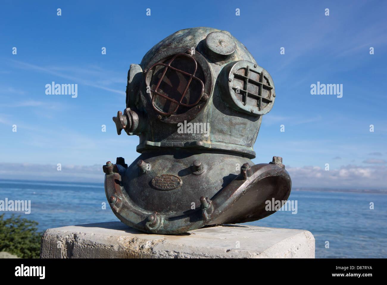 A deep sea diver's helmet - Stock Image