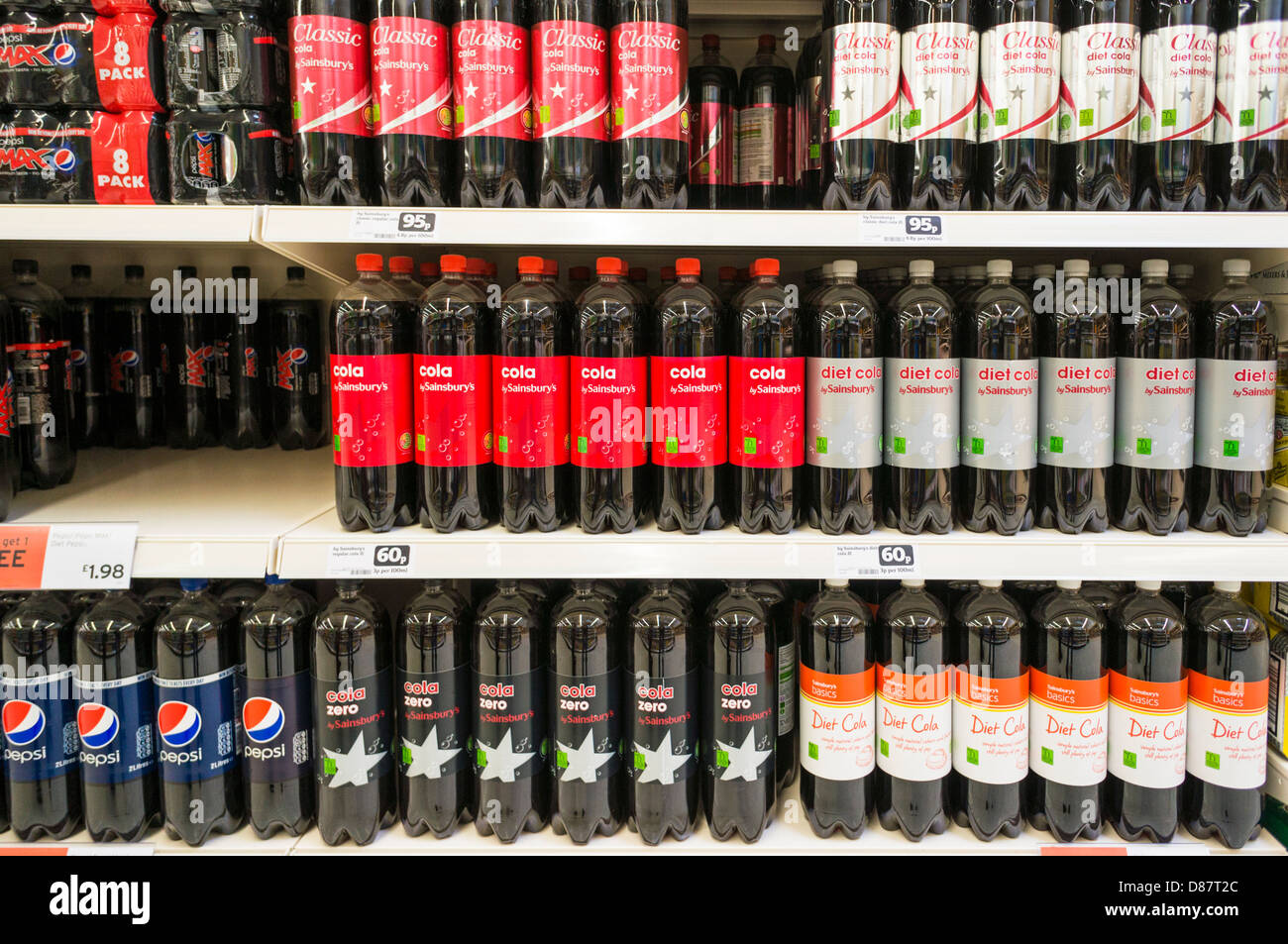 Fizzy coke drinks in a Sainsburys supermarket, UK - Stock Image