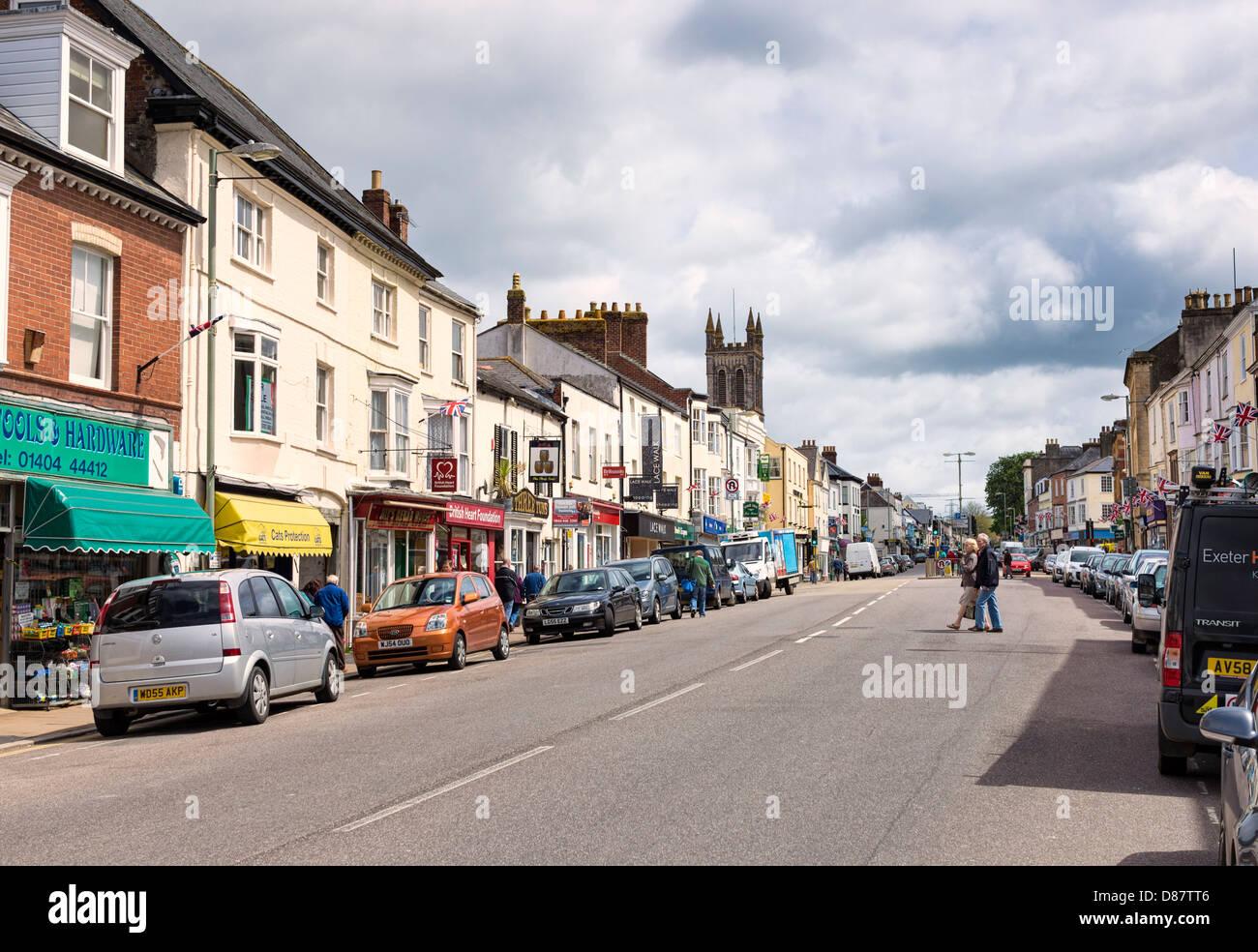 Honiton, Devon, England, UK - the town centre main high street Stock Photo