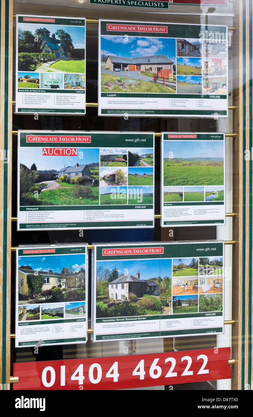 Country houses and land for sale and auction in an estate agents window, England, UK - Stock Image