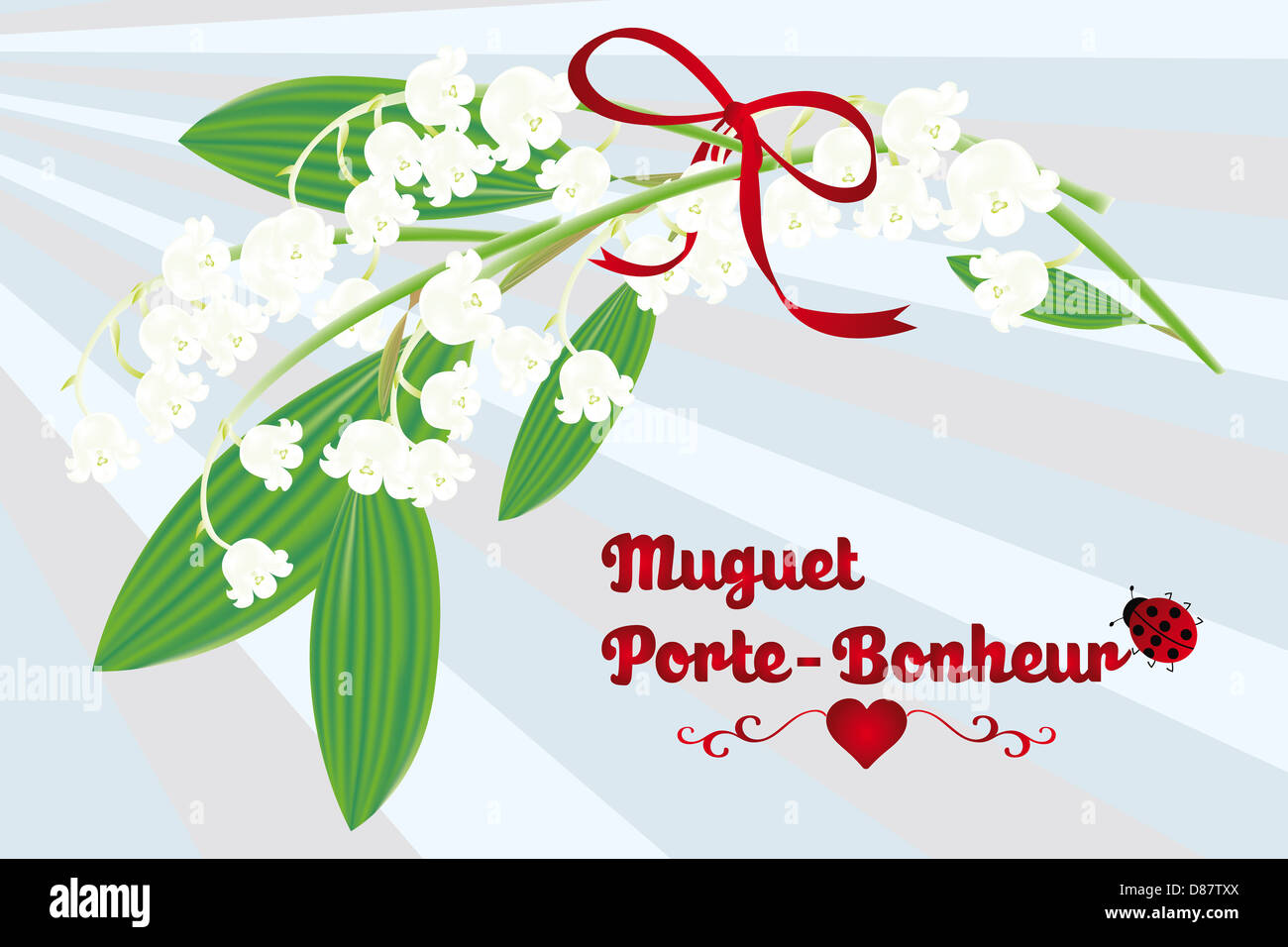 The Lily Of The Valley As Lucky Charm French Card Muguet Stock