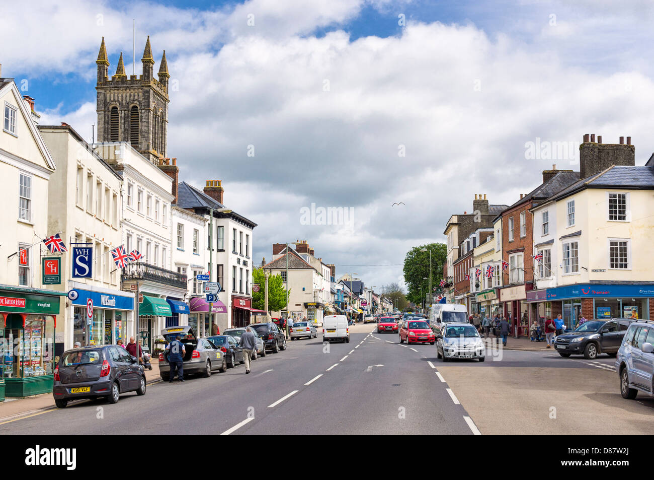 Honiton, Devon, England, UK - the town and main high street Stock Photo