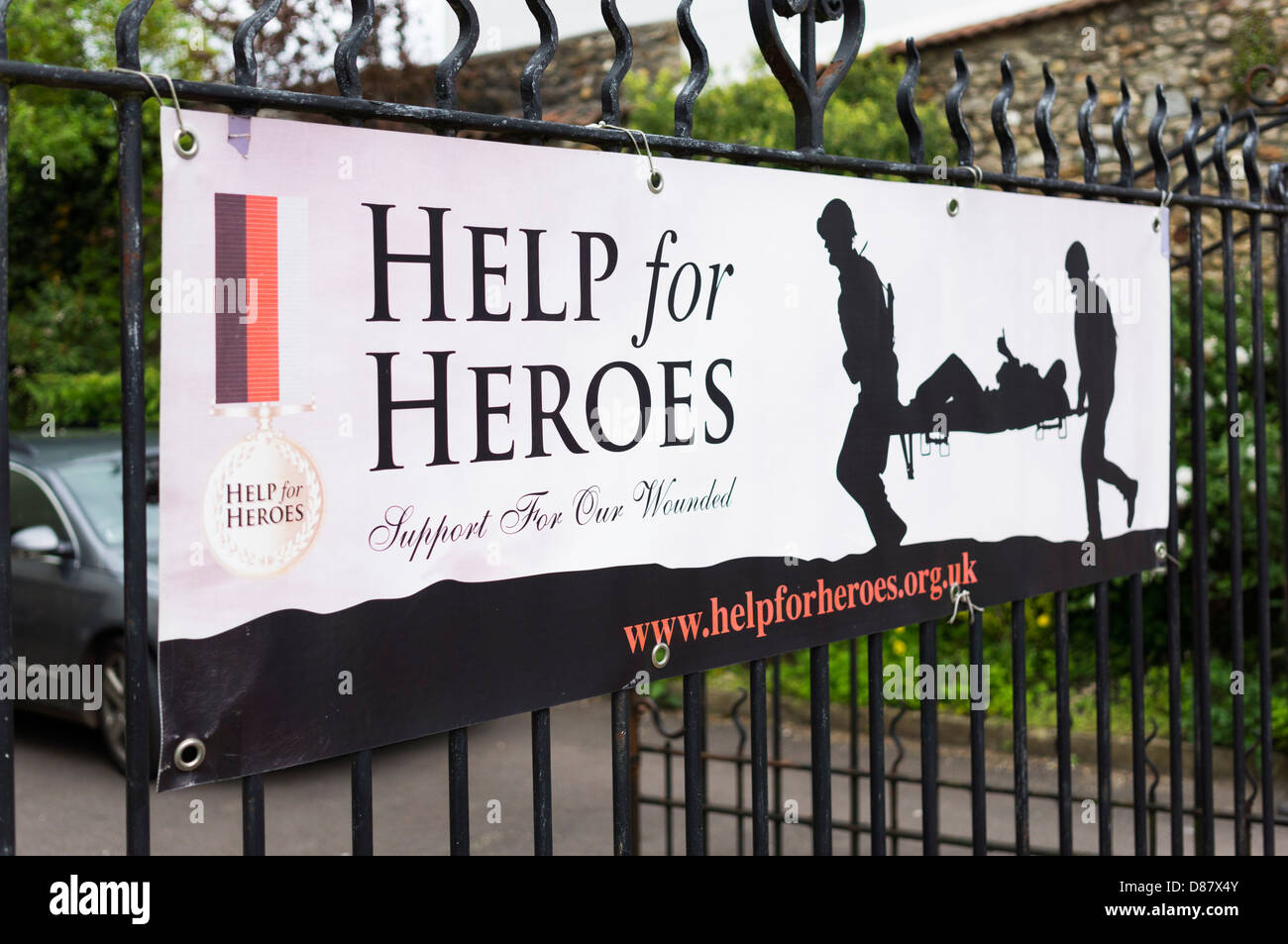 Help for Heroes charity banner, UK - Stock Image