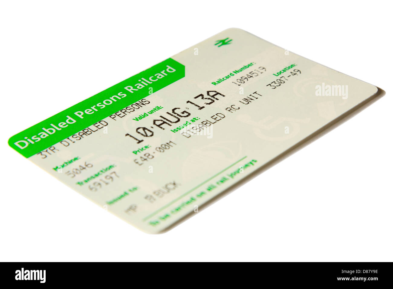 3YR Disabled Persons Railcard for reduced rail fares and cheap train travel isolated on a plain white background. - Stock Image