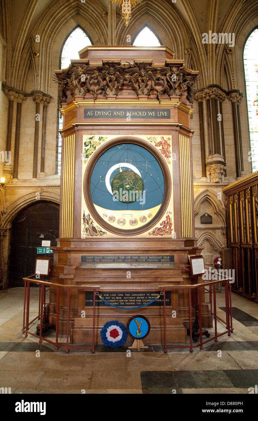 The Astronomical Clock, memorial to air crews who flew in World War ii, York Minster cathedral UK - Stock Image