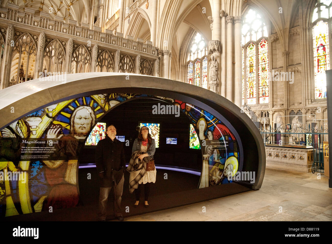 The Orb, giving information about the cathedral, the interior, York Minster Cathedral, York, Yorkshire UK - Stock Image