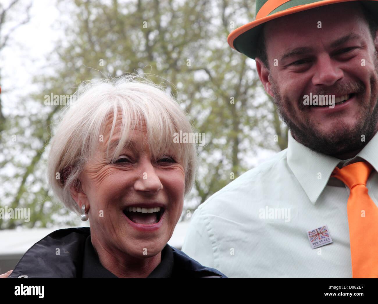 Dame Helen Mirren admires Flemings Trailfinders Australian Garden at RHS Chelsea Flower Show 2013 - Stock Image