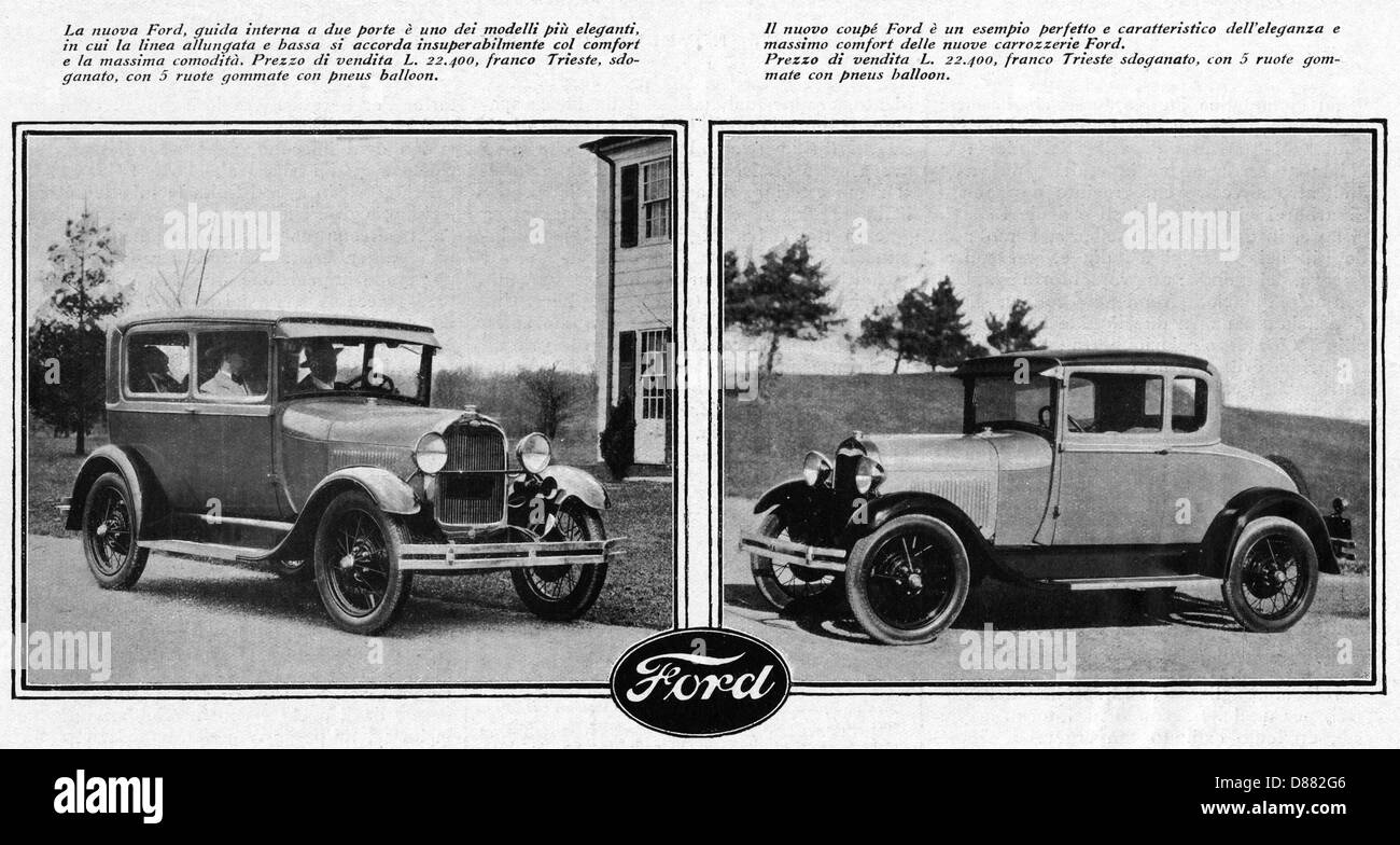 Ford In Italy 1928 - Stock Image