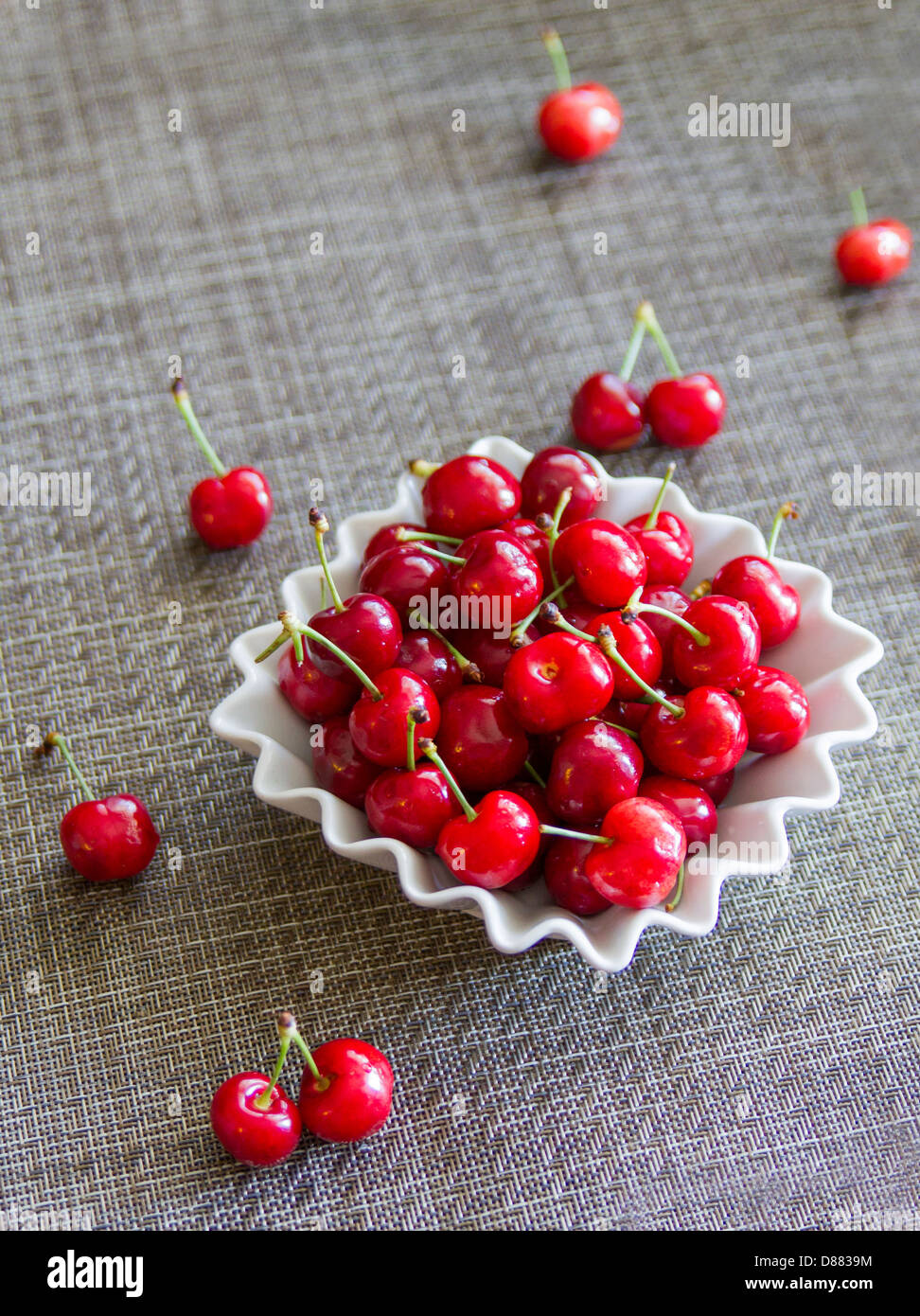 Juicy and fresh, organic cherries. - Stock Image