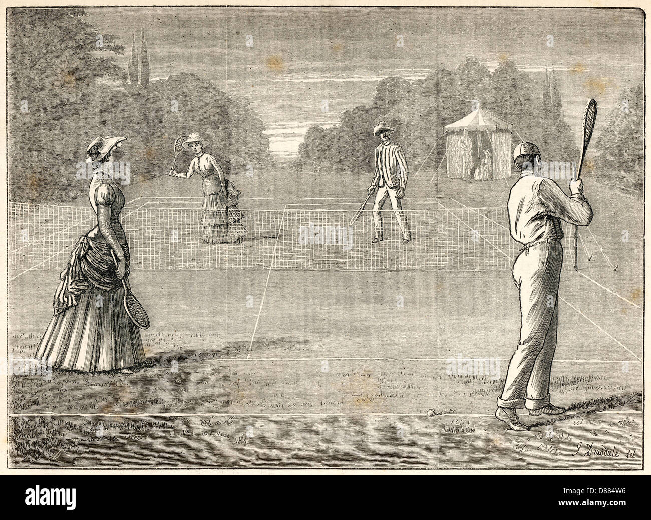 Mixed Doubles 1882 - Stock Image