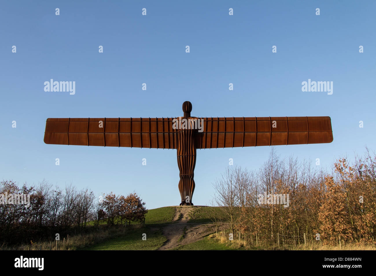 An image of the angel of the north which stands at the side of the A1 motorway, near Gateshead in the Northeast - Stock Image