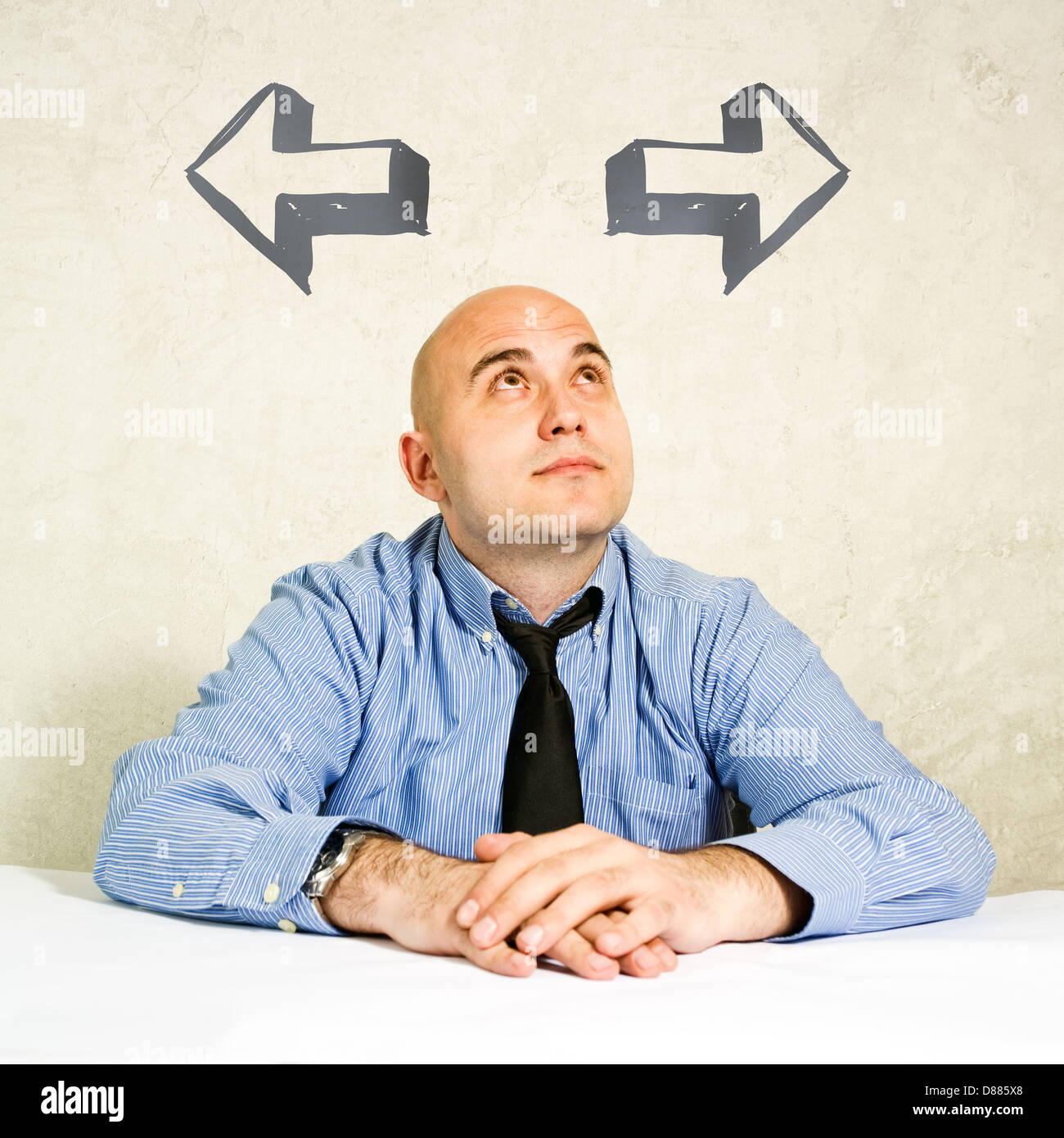 Business option. Businessman having two options, choosing between them. - Stock Image
