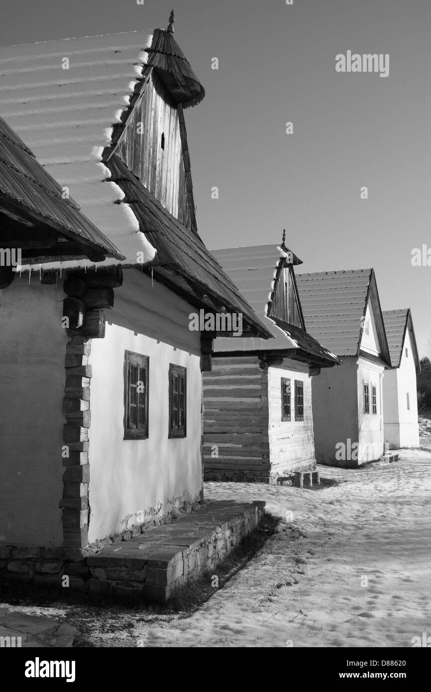 Old cottages in open-air museum - Stock Image