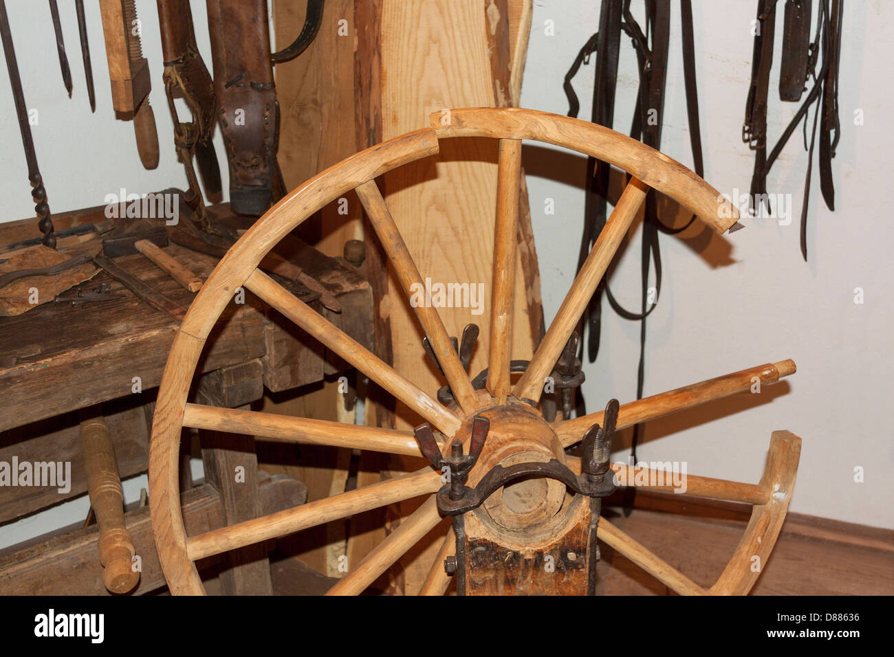 Timber wheel construction exhibition in Museum of the Mazovian Countryside in Sierpc, Poland - Stock Image
