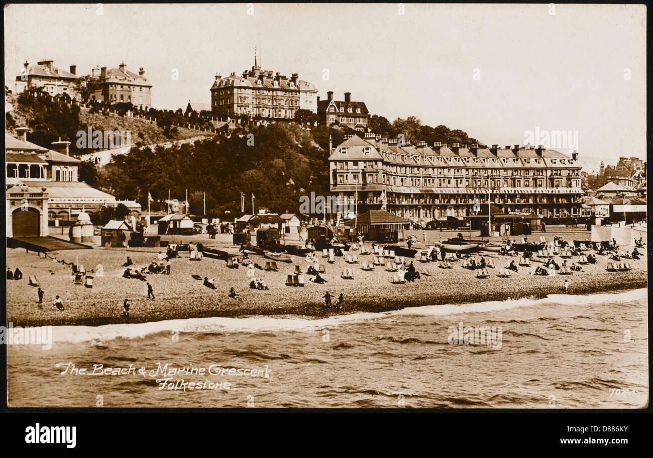 Folkestone Beach 1931 - Stock Image