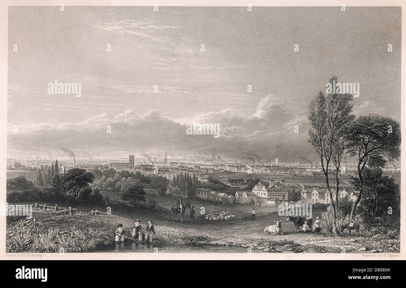 Manchester View 1834 - Stock Image