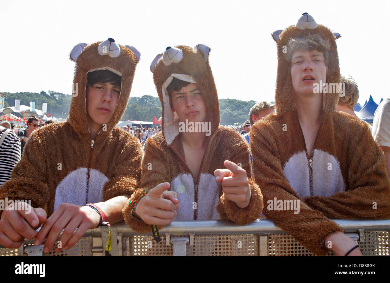 festival goers/ festivalgoers in animal onesie at the front line of main stage at bestival music festival, 2012 Stock Photo
