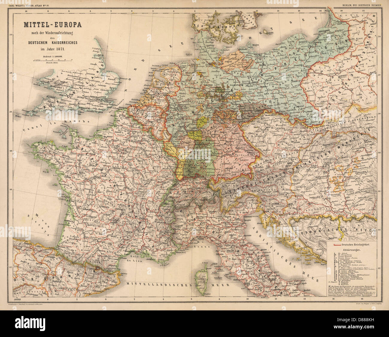 Map Of Europe In 1871.Map Europe Germany 1871 Stock Photo 56730789 Alamy