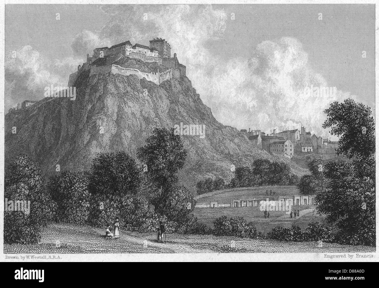 Edinburgh Castle 1830 - Stock Image