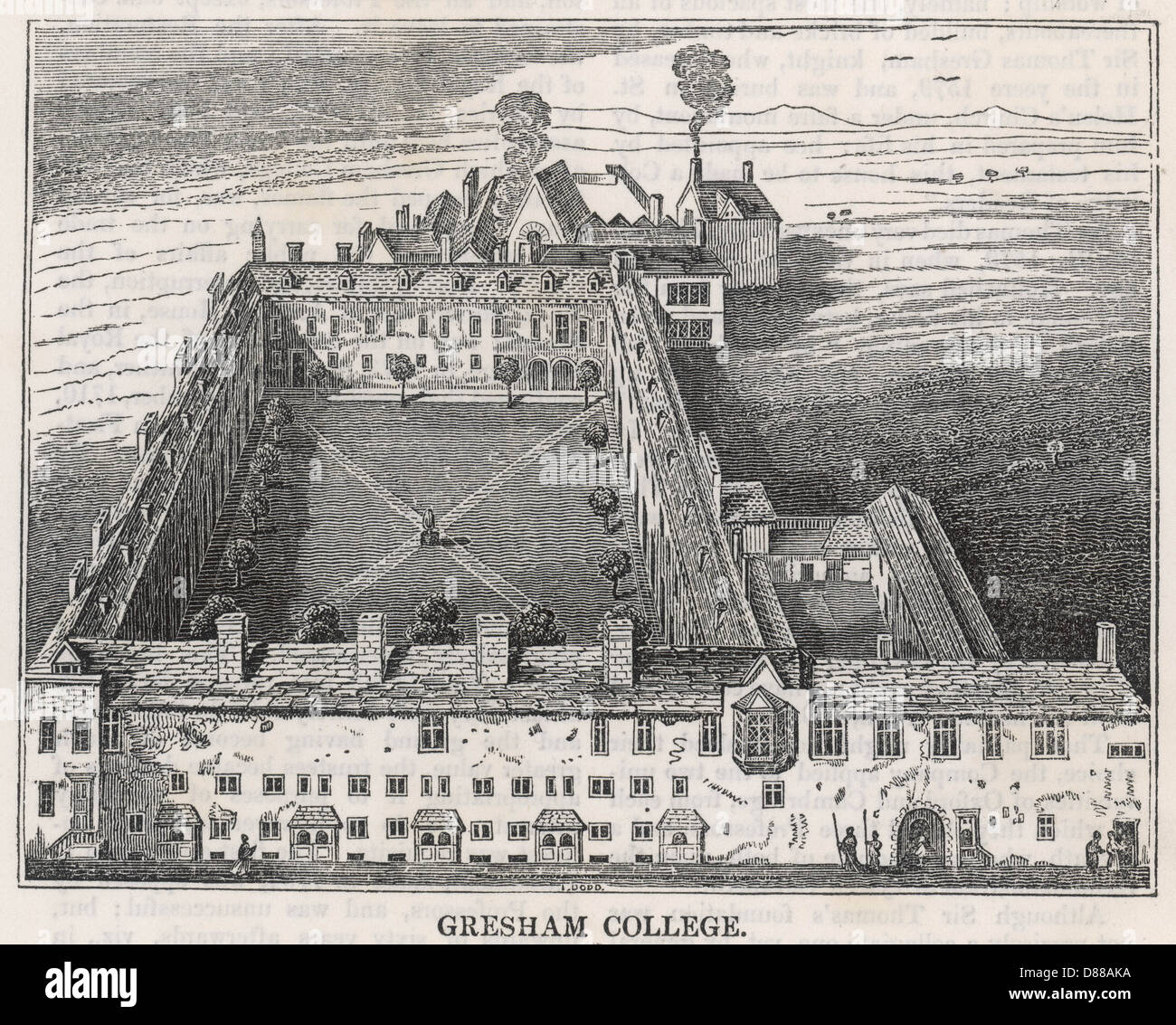 Gresham College 1834 - Stock Image